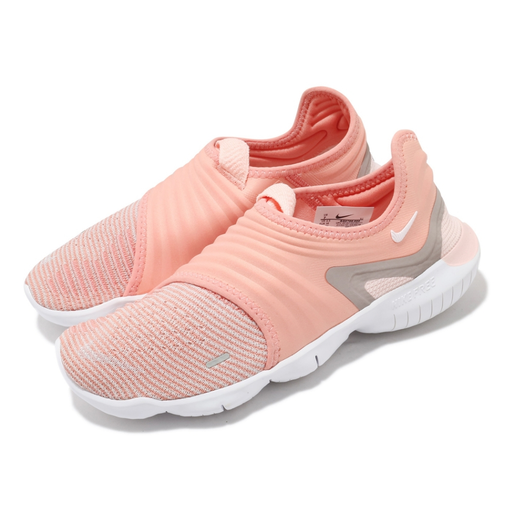 Nike 慢跑鞋 Free RN Flyknit 3.0 女鞋 襪套 輕量 透氣 舒適 赤足 訓練 球鞋 橘 白 AQ5708600