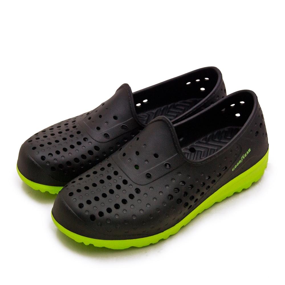GOODYEAR 固特異 排水透氣輕便水陸多功能休閒洞洞鞋 黑綠 03670