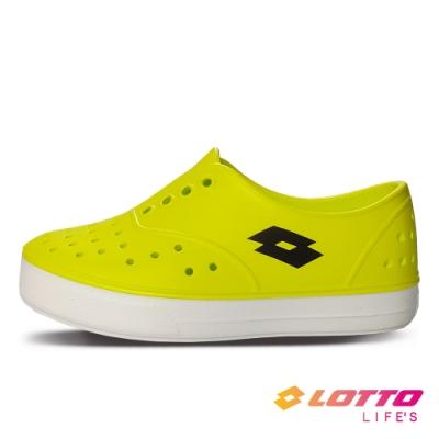 LOTTO 義大利 童鞋 繽紛玩色 亮彩洞洞鞋(螢光黃)