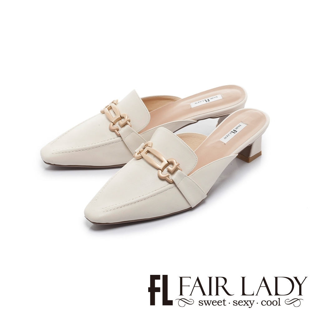 FAIR LADY 優雅小姐 馬蹄釦縫線低跟穆勒鞋 白
