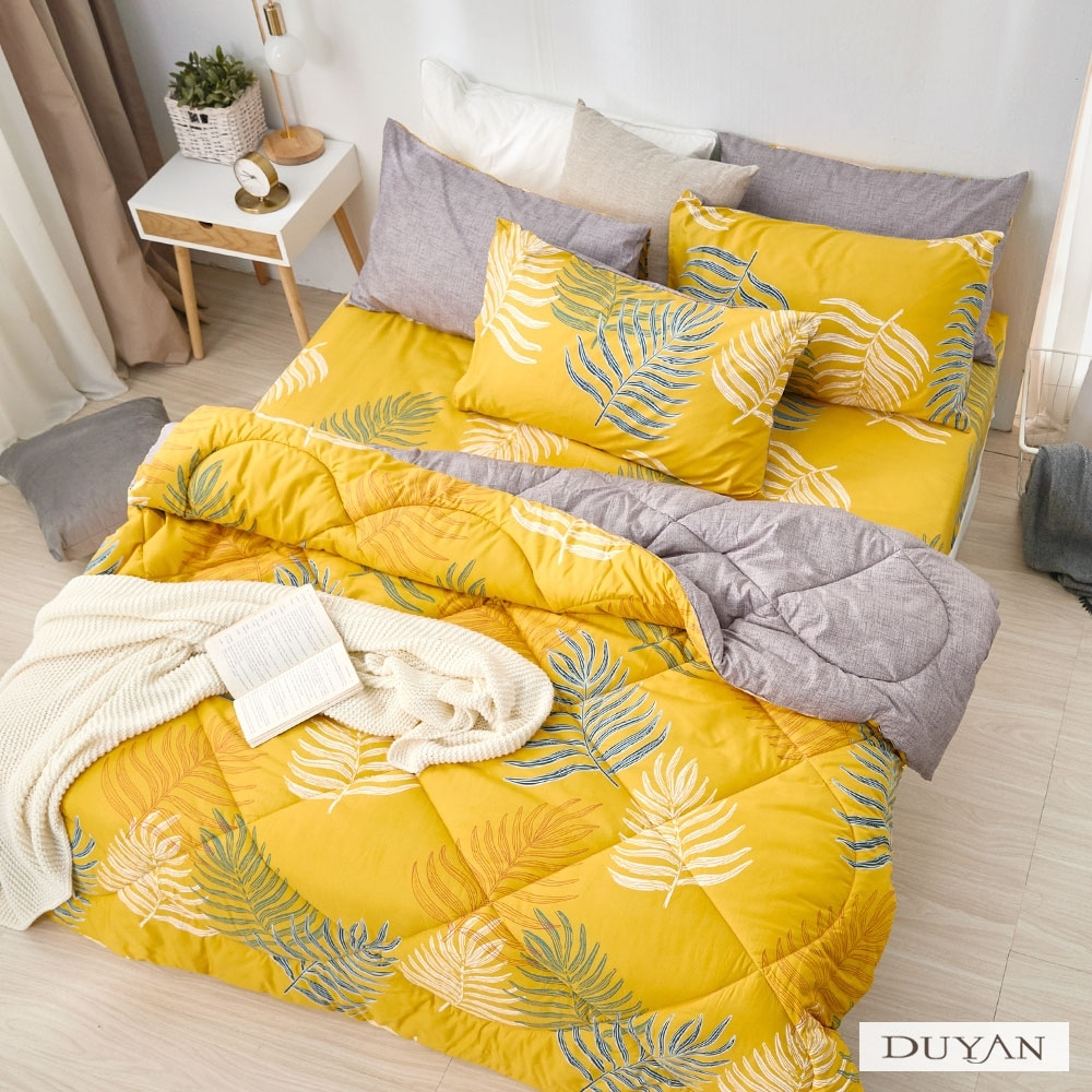 DUYAN竹漾-舒柔棉-雙人床包組+可水洗羽絲絨被-朝日悠陽