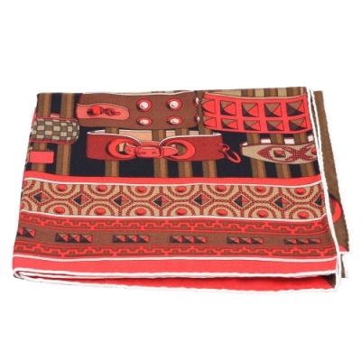 HERMES Colliers de chiens手環圖案喀什米爾披肩/方巾(黑X紅)