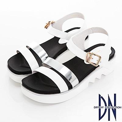 DN 夏日焦點 一字雙色楔型涼鞋-白