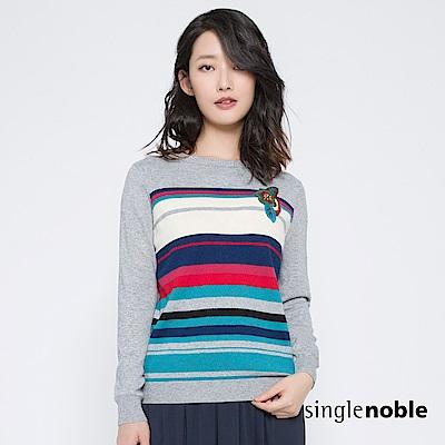 獨身貴族 雅緻工藝刺繡花朵條紋針織衫(2色)