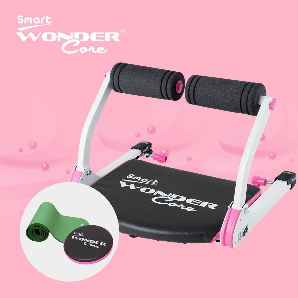 Wonder Core Smart 全能輕巧健身機「愛戀粉」三件組(含運動墊-綠、扭腰盤-粉)