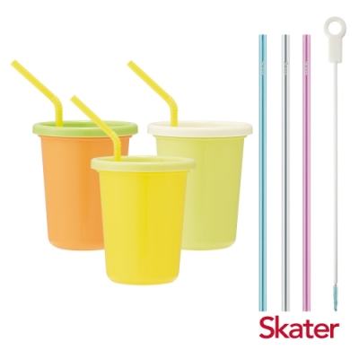 Skater日本製3入水杯(320ml)Color+環保吸管組(3入附刷)
