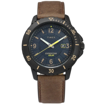 TIMEX 天美時 遠征 太陽能電力 礦石強化玻璃 日期 真皮手錶-藍x黑框x棕/45mm