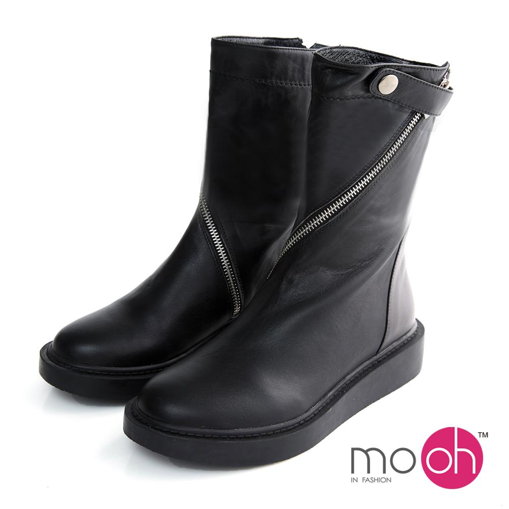 mo.oh-全真皮-圓頭厚底拉鏈機車靴-黑色