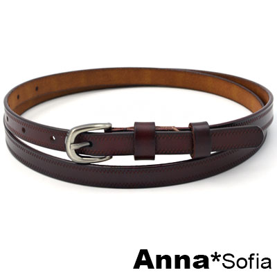 AnnaSofia 鋸齒波線 二層牛皮真皮細腰帶(墨咖系)