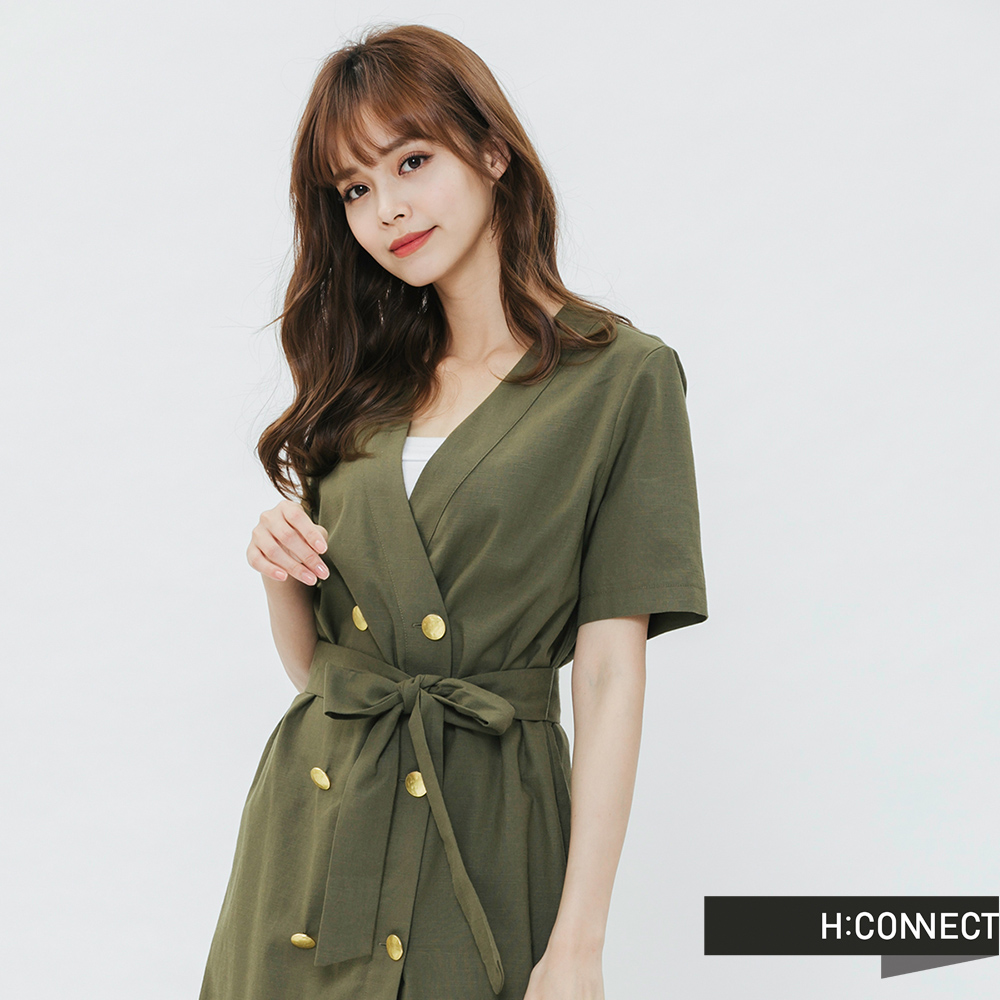 H:CONNECT 韓國品牌 女裝-雙排扣綁結V領洋裝-綠