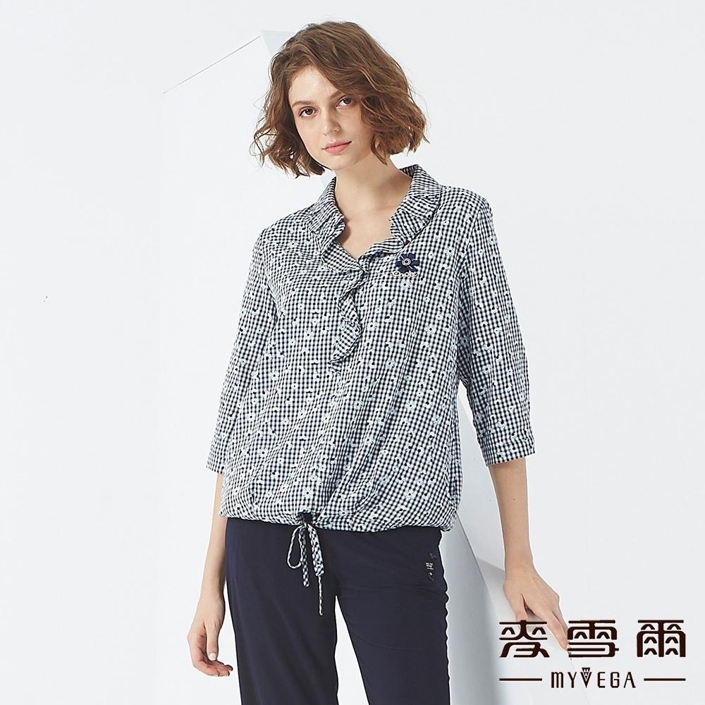 MYVEGA麥雪爾 小雛菊格紋造型上衣-深藍