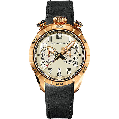 BOMBERG 炸彈錶 BB-68 系列飛行計時碼錶-玫瑰金框/44mm