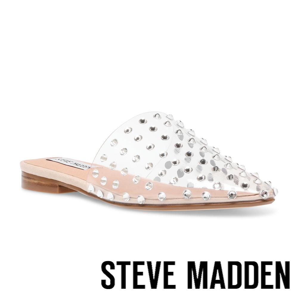 STEVE MADDEN-TANNA 水鑽透明前包涼拖鞋-透明