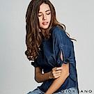 GIORDANO 女裝牛仔綁袖寬版T恤-73 深藍