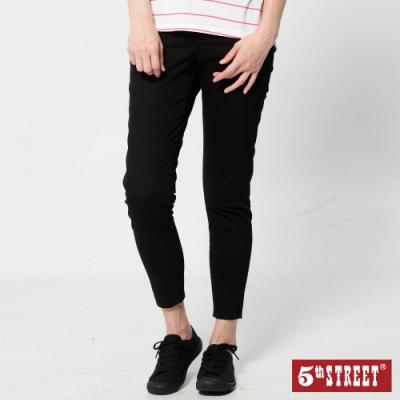 5th STREET 彈力修身 九分休閒褲-女-黑色