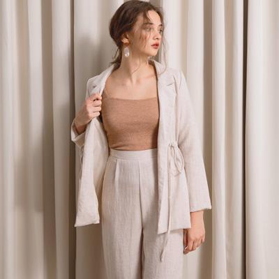 AIR SPACE LADY 抽繩設計棉麻感長袖西裝套裝(杏)
