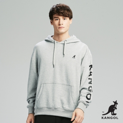 【KANGOL】Oversize落肩設計印花連帽上衣/帽T-男-麻灰