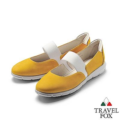 TRAVEL FOX(女) 好動的 磨砂牛皮律動舒適娃娃帶休閒鞋 -亮點黃