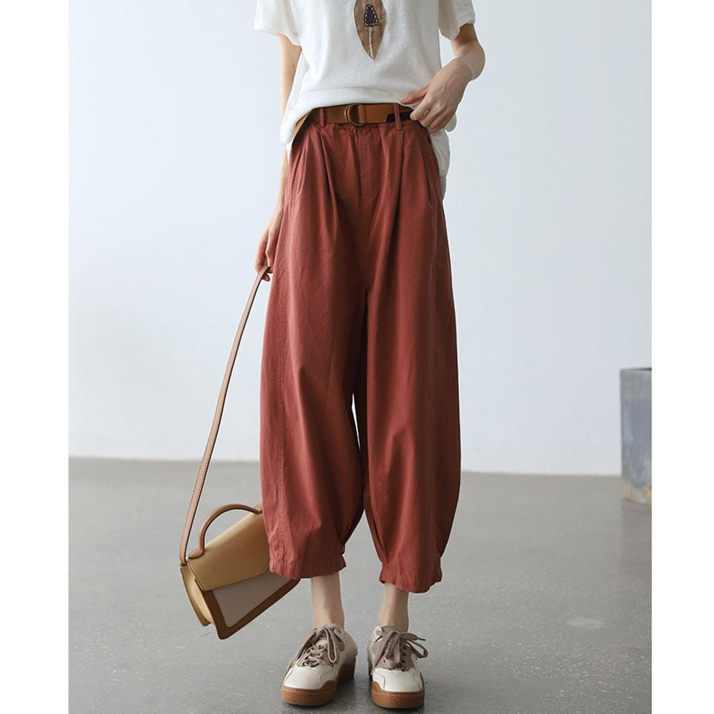 老爹褲高腰顯瘦九分哈倫褲送腰帶四色可選-設計所在 (磚紅色)