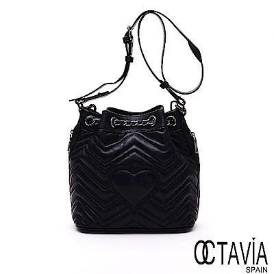 OCTAVIA8 真皮 - 海浪啵波 羊皮V紋車線鍊條水桶包 - 黑潮黑