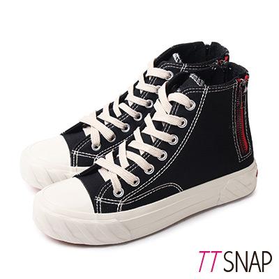 TTSNAP餅乾鞋-帆布綁帶後拉鍊高筒平底鞋 黑