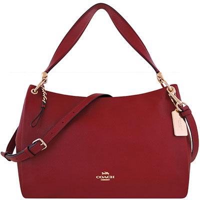 COACH 櫻桃紅色荔枝紋皮革斜背/側肩兩用包