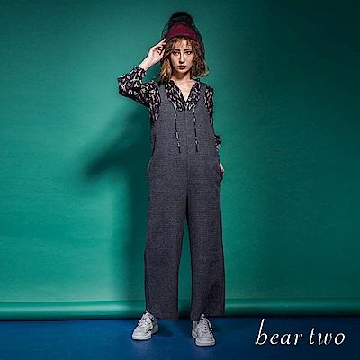 beartwo 俐落吊帶連身寬褲(黑色)