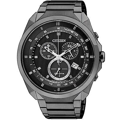 CITIZEN星辰 光動能 極限自我三眼計時運動錶(AT2155-58E)-黑/45mm
