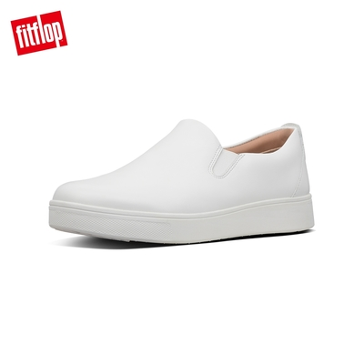 【FitFlop】SANIA SKATE LEATHER SNEAKERS 易穿脫時尚休閒鞋-女(都會白)