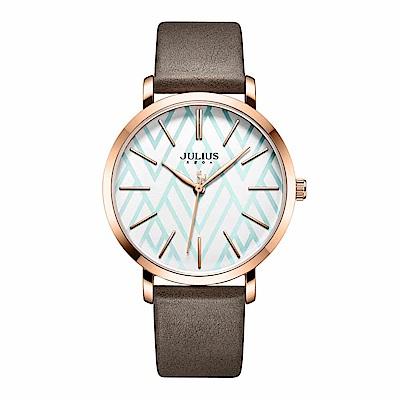 JULIUS聚利時 舞彩戀曲簡約時尚腕錶-可可棕/38mm