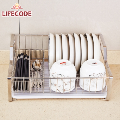LIFECODE《收納王》不鏽鋼瀝水架/碗碟架+雙格筷子筒