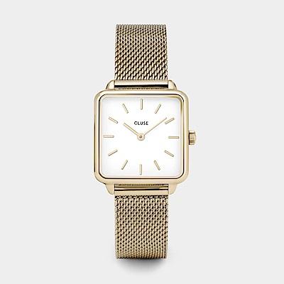 CLUSE LA GARCONNE 方框系列腕錶 (金框/白面/金米蘭帶)