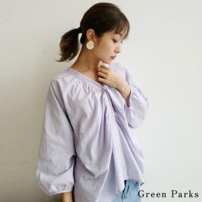Green Parks 可愛皺褶V領前扣式上衣
