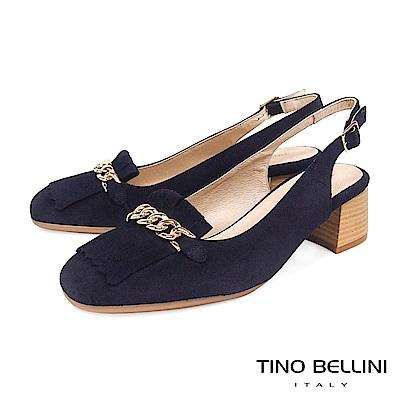 Tino Bellini 西班牙進口流蘇繫鍊小方頭樂福跟鞋 _ 藍