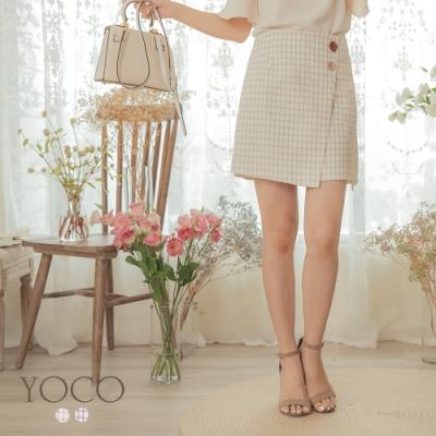 東京著衣-YOCO 甜美芭比不對稱下襬格紋A字裙-S.M.L(共兩色)
