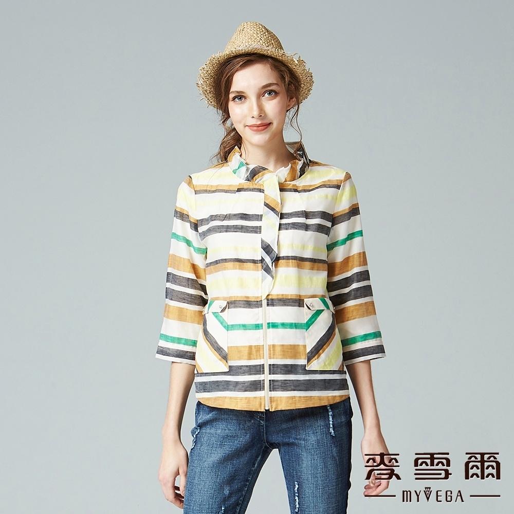 麥雪爾 水彩風條紋雪紡拉鍊外套