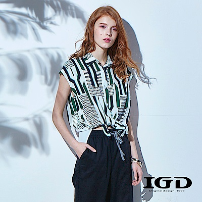 IGD英格麗 復古幾何條紋落肩上衣-綠色