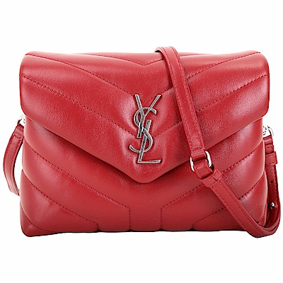 YSL Saint Laurent LOULOU 銀字絎縫小牛皮斜背包(唇紅色)