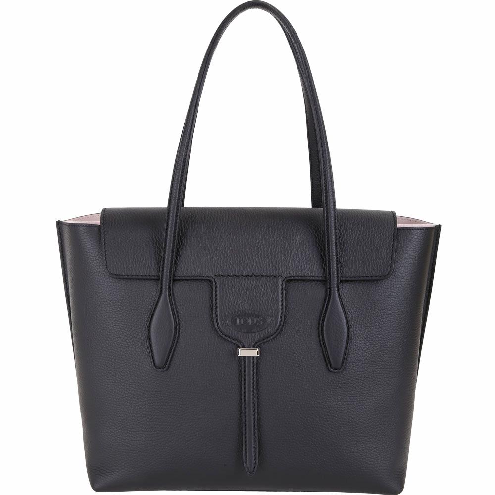 TOD'S New Joy Bag 中款 T釦翻蓋牛皮托特包(黑色)