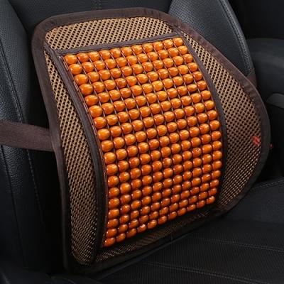 EZlife 汽車木珠按摩冰絲透氣腰靠 (贈MIT口罩減壓護套)