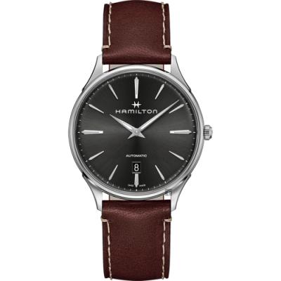 Hamilton 漢米爾頓 JAZZMASTER 美國經典爵士機械錶-灰x咖啡/40mm