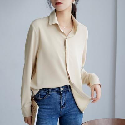 2F韓衣-韓系氣質素色百搭襯衫-新-2色(S-XL)