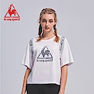 le coq sportif 法國公雞牌印花織帶蝙蝠短袖T恤 女-白