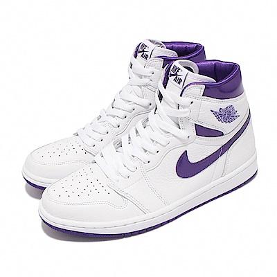 Nike 休閒鞋 Jordan 1 High OG 男女鞋 經典款 AJ1 情侶穿搭 皮革 白 金屬紫 CD0461-151