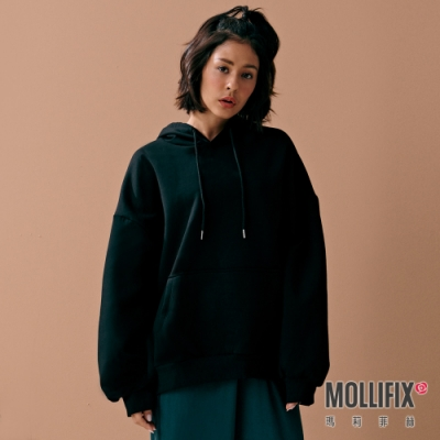 Mollifix 瑪莉菲絲 LOGO織帶前口袋開岔連帽上衣 (黑)