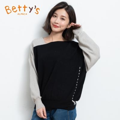 betty's貝蒂思 時尚斜領拼色針織衫(黑色)