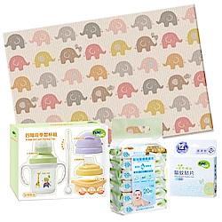 【麗嬰房】韓國 Parklon 帕龍地墊 Hi Living(大象)+四階段學習杯防蚊特惠組