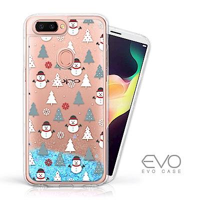EVO CASE OPPO R11s+ 耶誕特輯藍色閃粉亮片流沙手機軟殼 - 耶誕雪人