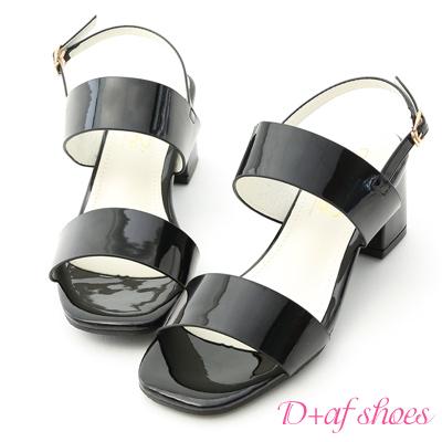 D+AF 微甜氣質.一字設計漆皮中跟涼鞋*黑