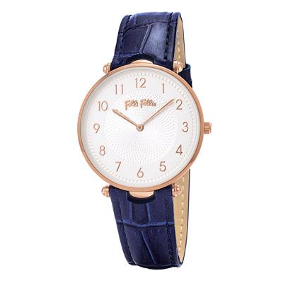 Folli Follie浪漫氣質皮革腕錶-藍(WF17R015SSS-DB)
